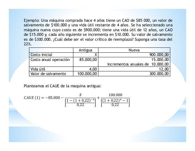 Ejemplo: Una máquina comprada hace 4 años tiene un CAO de $85 000, un valor de salvamento de $100.000 y una vida útil rest...
