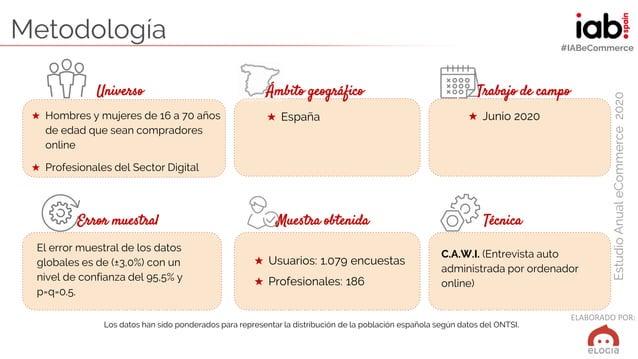 ELABORADO POR: EstudioAnualeCommerce2020 #IABeCommerce Metodología Universo Ámbito geográfico Trabajo de campo ★ Hombres y...
