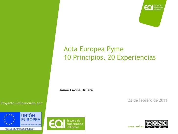 Acta Europea Pyme 10 Principios, 20 Experiencias 22 de febrero de 2011 Jaime Laviña Orueta Proyecto Cofinanciado por: