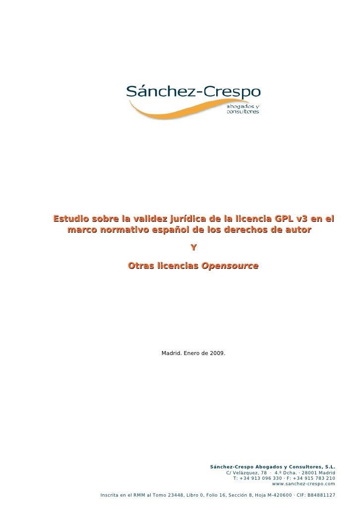 Estudio sobre la validez jurídica de la licencia GPL v3 en el    marco normativo español de los derechos de autor         ...