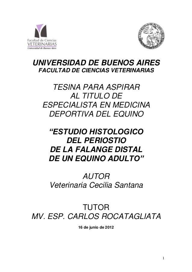 UNIVERSIDAD DE BUENOS AIRES FACULTAD DE CIENCIAS VETERINARIAS  TESINA PARA ASPIRAR AL TITULO DE ESPECIALISTA EN MEDICINA D...