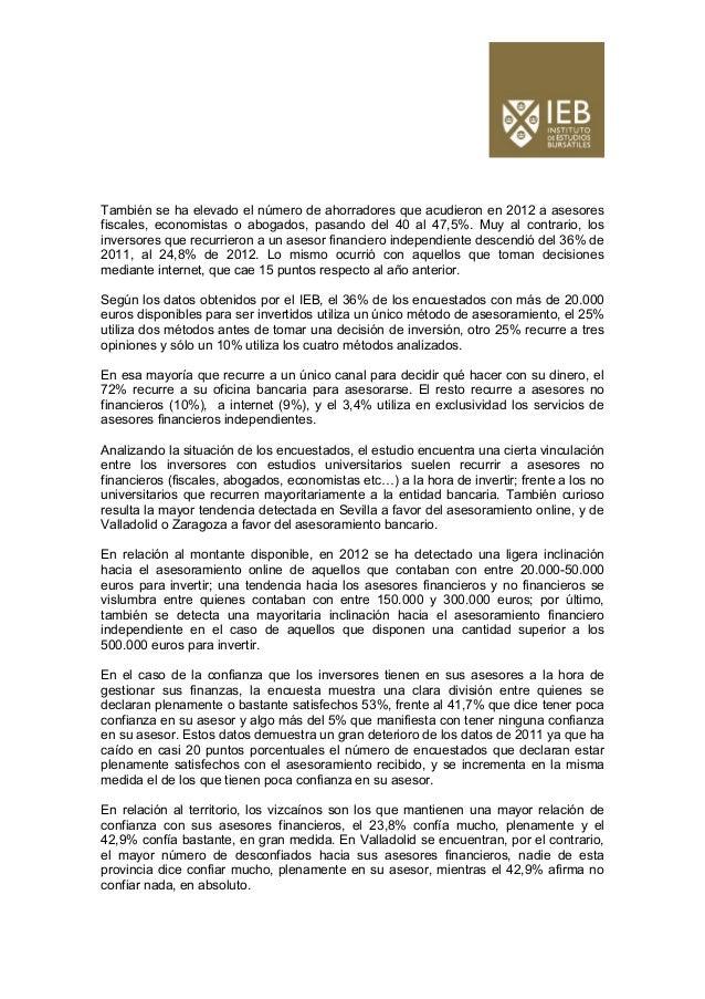 Estudio ieb inversis   cómo es el inversor español - 20 03 2013 (2) Slide 2