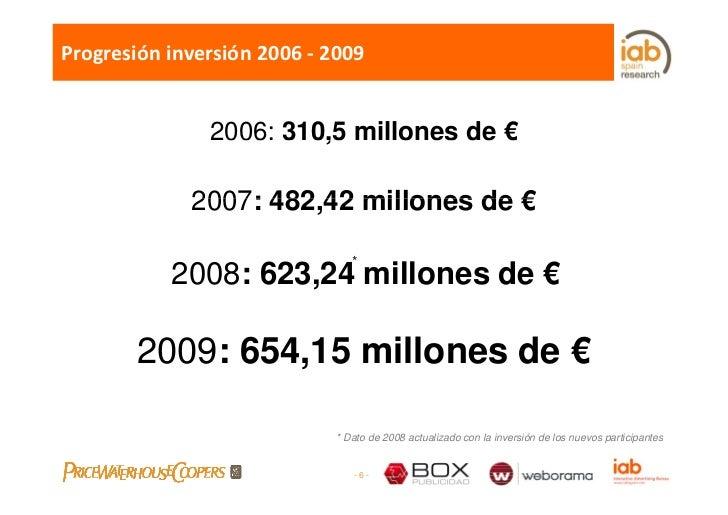 Progresióninversión2006‐ 2009                  2006: 310,5 millones de €                         ,               2007: ...