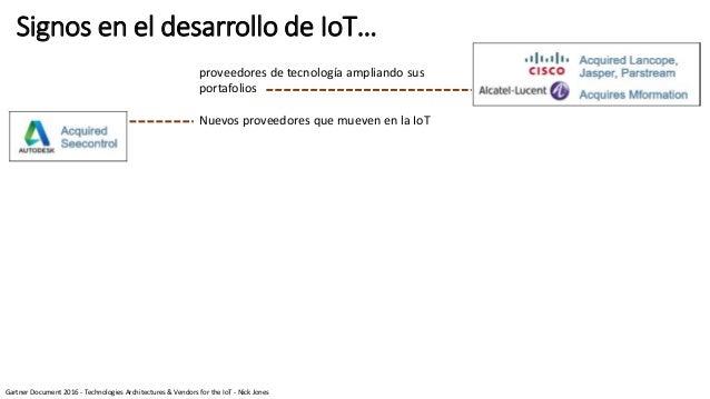 Signos en el desarrollo de IoT… proveedores de tecnología ampliando sus portafolios Nuevos proveedores que mueven en la Io...