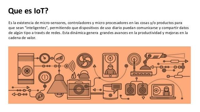 Que es IoT? Es la existencia de micro-sensores, controladores y micro procesadores en las cosas y/o productos para que sea...