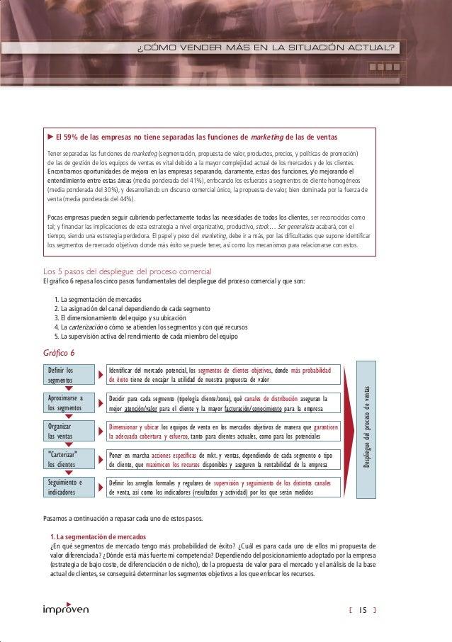 [ 15 ] ¿CÓMO VENDER MÁS EN LA SITUACIÓN ACTUAL? Los 5 pasos del despliegue del proceso comercial El gráfico 6 repasa los c...