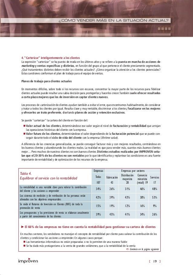 [ 19 ] ¿CÓMO VENDER MÁS EN LA SITUACIÓN ACTUAL? Tabla 4. Equilibrar el servicio con la rentabilidad Empresas Empresas por ...