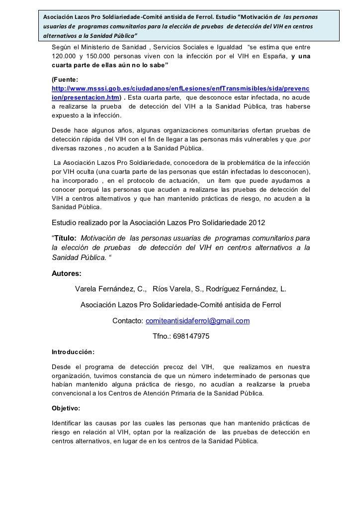 """Asociación Lazos Pro Soldiariedade-Comité antisida de Ferrol. Estudio """"Motivación de las personasusuarias de programas com..."""