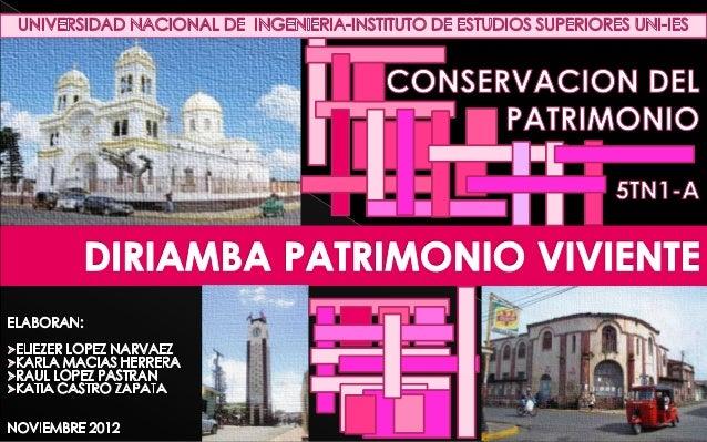 La ciudad de Diriamba cuenta con grandes valorespatrimoniales tanto de carácter natural comocultural es por ello que dicha...