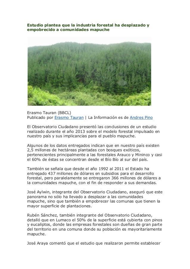 Estudio plantea que la industria forestal ha desplazado y empobrecido a comunidades mapuche  Erasmo Tauran (BBCL) Publicad...