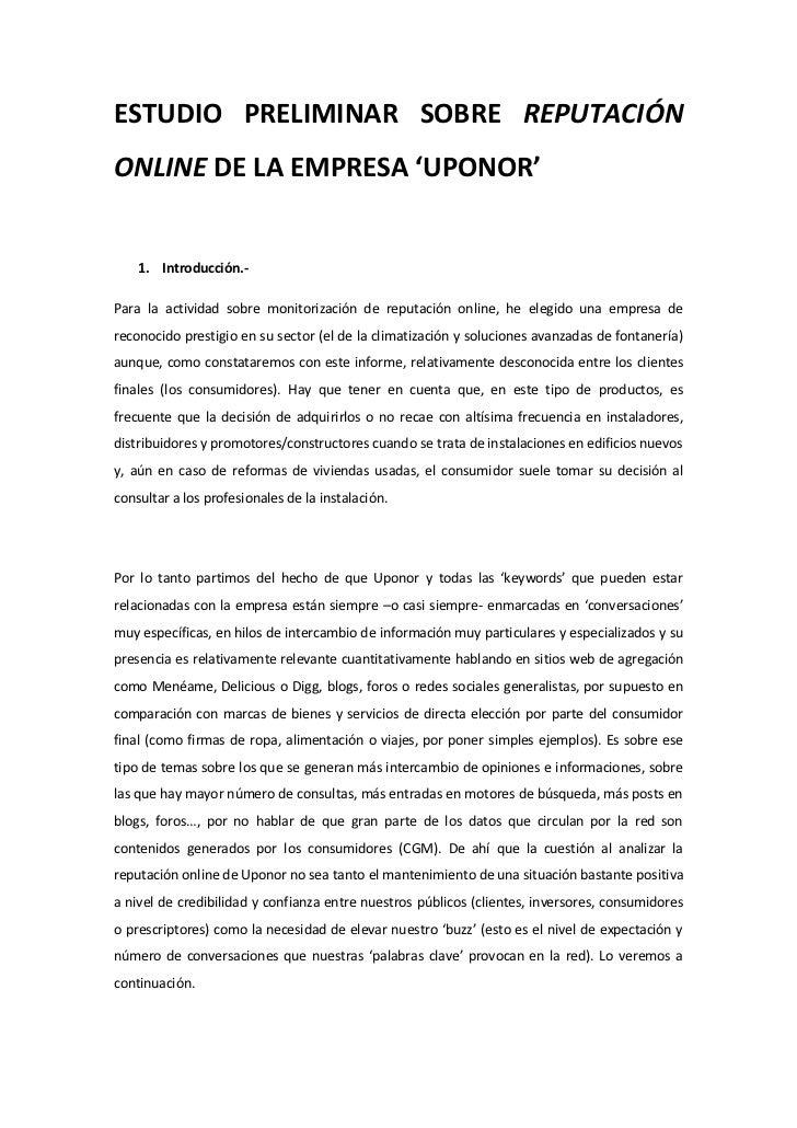 ESTUDIO PRELIMINAR SOBRE REPUTACIÓNONLINE DE LA EMPRESA 'UPONOR'    1. Introducción.-Para la actividad sobre monitorizació...