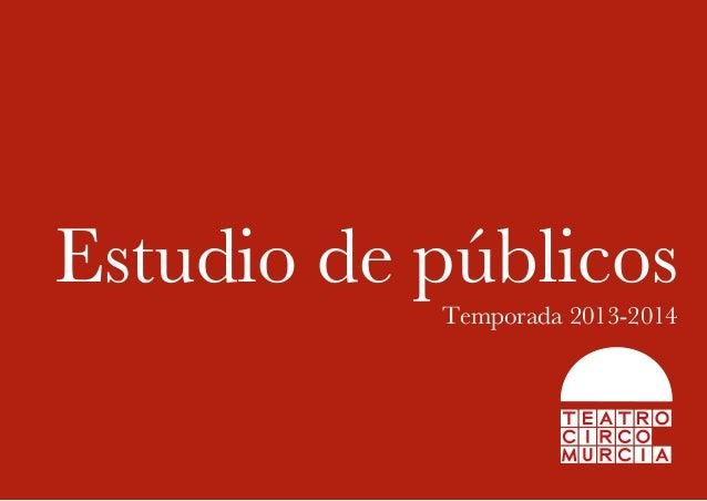 Estudio de públicos Temporada 2013-2014