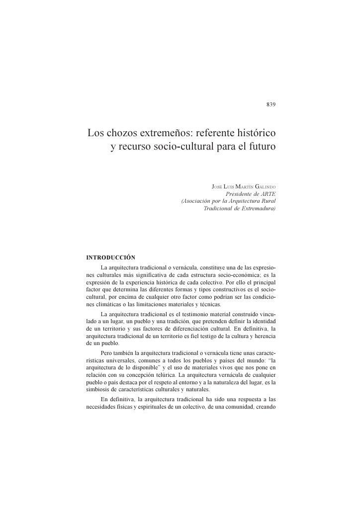 839    Los chozos extremeños: referente histórico      y recurso socio-cultural para el futuro                            ...