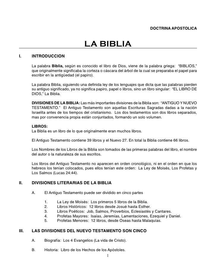 DOCTRINA APOSTOLICA                                      LA BIBLIAI.     INTRODUCCION       La palabra Biblia, según es co...