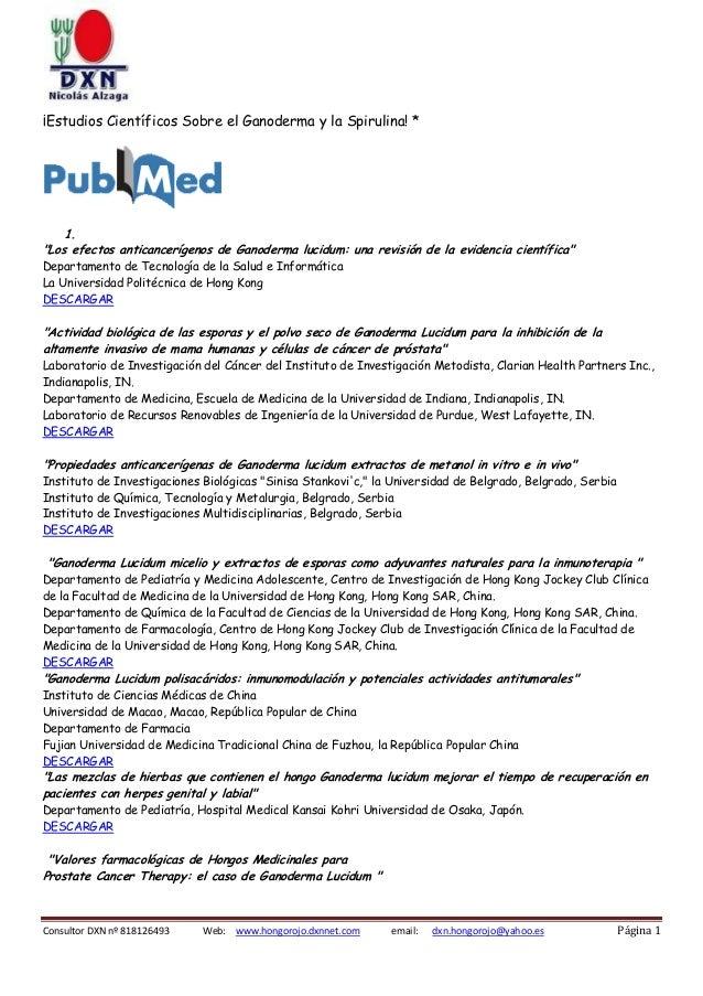 """¡Estudios Científicos Sobre el Ganoderma y la Spirulina! *  1. """"Los efectos anticancerígenos de Ganoderma lucidum: una rev..."""