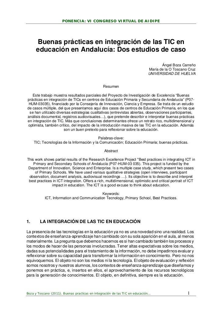 PONENCIA: VI CONGRESO VIRTUAL DE AIDIPE      Buenas prácticas en integración de las TIC en      educación en Andalucía: Do...