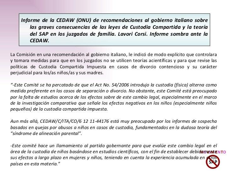 Informe de la CEDAW (ONU) de recomendaciones al gobierno italiano sobre las graves consecuencias de las leyes de Custodia ...