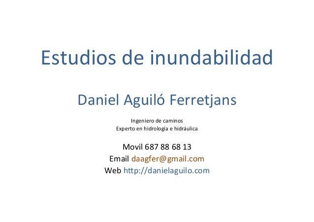 Estudios  de  inundabilidad      Daniel  Aguiló  Ferretjans      Ingeniero  de  caminos   Experto...