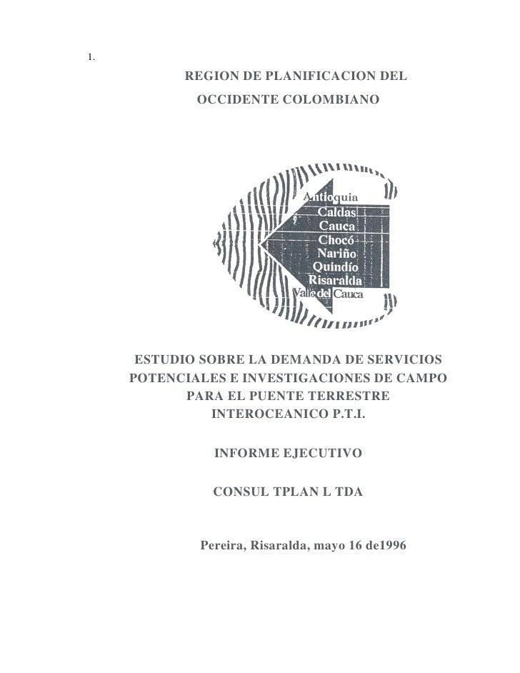 1.           REGION DE PLANIFICACION DEL             OCCIDENTE COLOMBIANO      ESTUDIO SOBRE LA DEMANDA DE SERVICIOS     P...