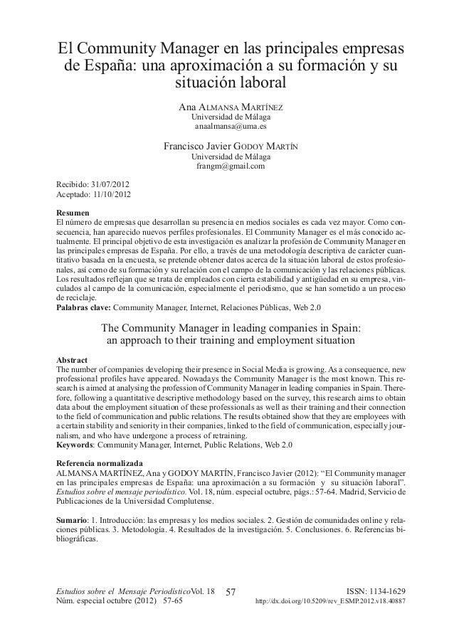 057-064:EMP 1 11/12/2012 12:39 Página 57              El Community Manager en las principales empresas               de Es...