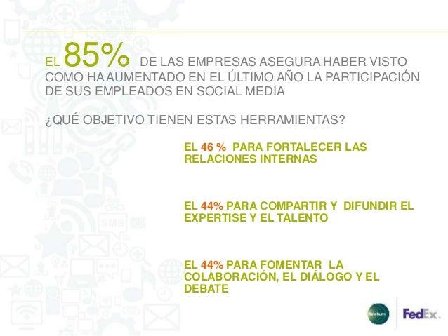 EL85%       DE LAS EMPRESAS ASEGURA HABER VISTOCOMO HA AUMENTADO EN EL ÚLTIMO AÑO LA PARTICIPACIÓNDE SUS EMPLEADOS EN SOCI...