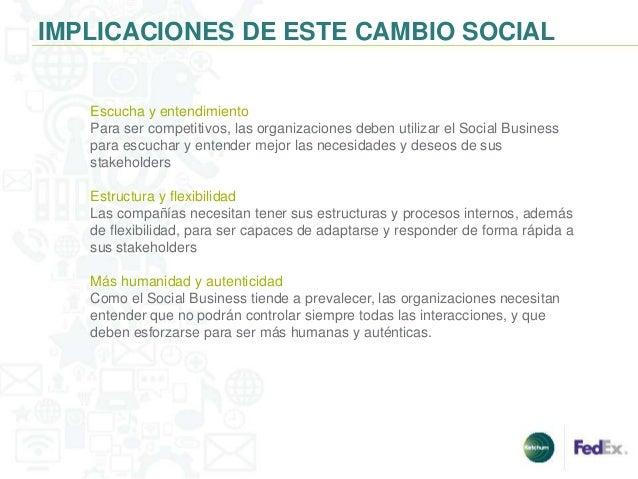 IMPLICACIONES DE ESTE CAMBIO SOCIAL   Escucha y entendimiento   Para ser competitivos, las organizaciones deben utilizar e...