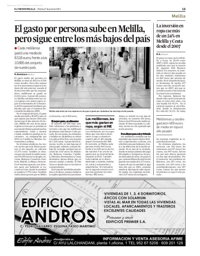 R.Alcántara MELILLA El gasto medio por persona en Melilla se situó en 2013 en 8.518 euros anuales. Esta cifra supone un le...