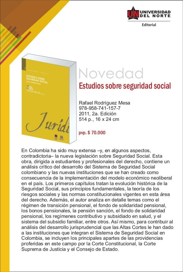 Novedad                           Estudios sobre seguridad social                           Rafael Rodríguez Mesa         ...