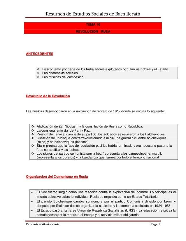 Resumen de Estudios Sociales de BachilleratoParauniversitaria Yunis Page 1TEMA 10REVOLUCION RUSAANTECEDENTES Descontento ...
