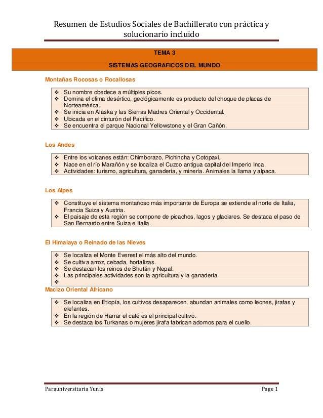 Resumen de Estudios Sociales de Bachillerato con práctica ysolucionario incluidoParauniversitaria Yunis Page 1TEMA 3SISTEM...