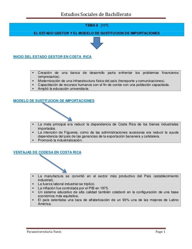 Estudios Sociales de Bachillerato Parauniversitaria Yunis Page 1 TEMA 9 (11º) EL ESTADO GESTOR Y EL MODELO DE SUSTITUCION ...