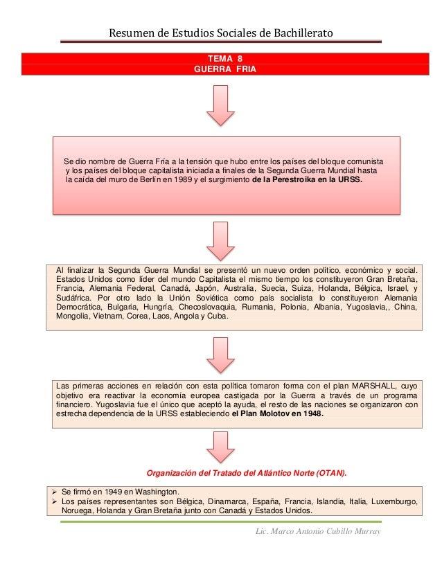 Resumen de Estudios Sociales de BachilleratoLic. Marco Antonio Cubillo MurrayTEMA 8GUERRA FRIAAl finalizar la Segunda Guer...