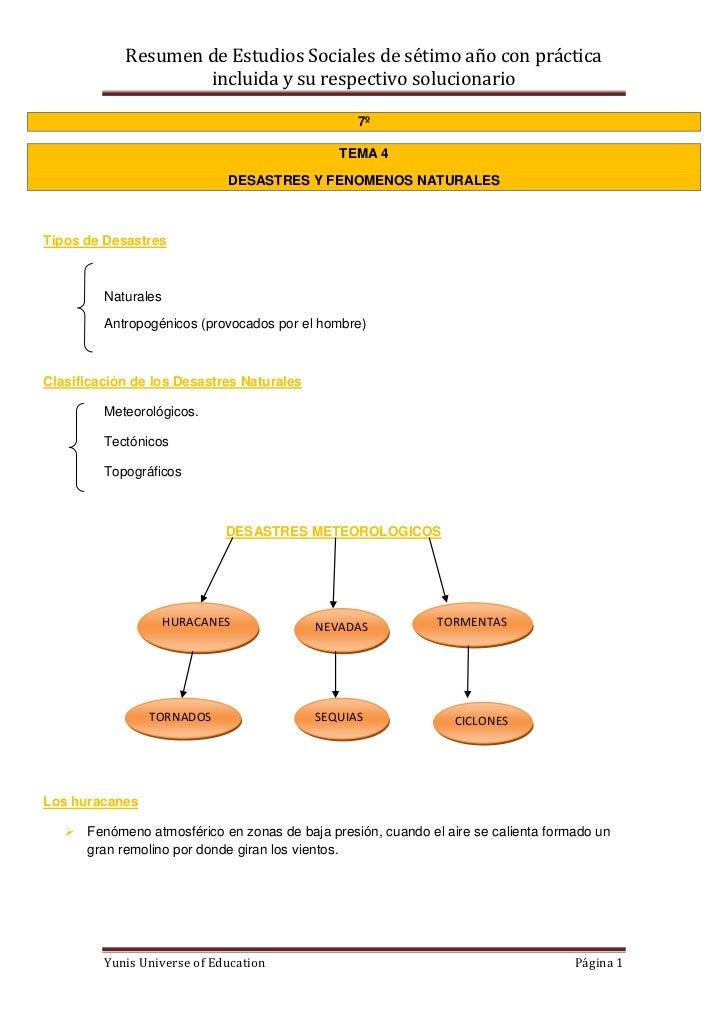 Resumen de Estudios Sociales de sétimo año con práctica                    incluida y su respectivo solucionario          ...
