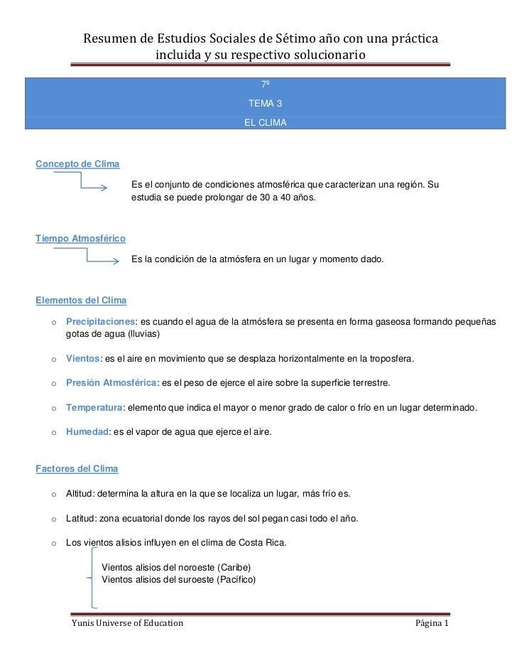Resumen de Estudios Sociales de Sétimo año con una práctica                      incluida y su respectivo solucionario    ...