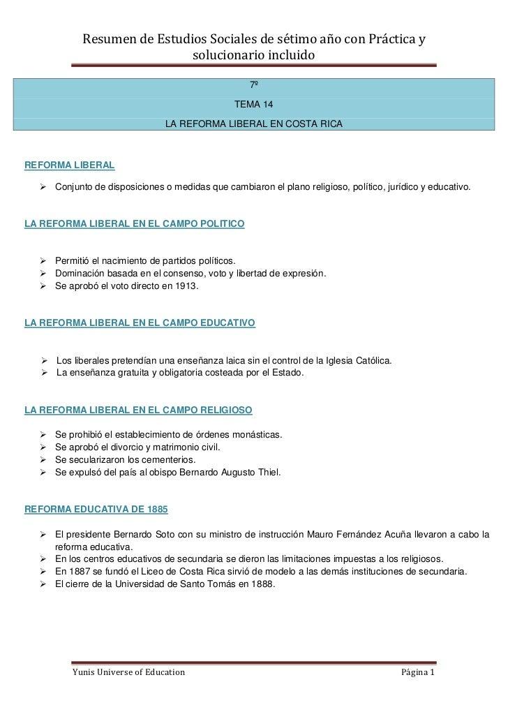 Resumen de Estudios Sociales de sétimo año con Práctica y                             solucionario incluido               ...