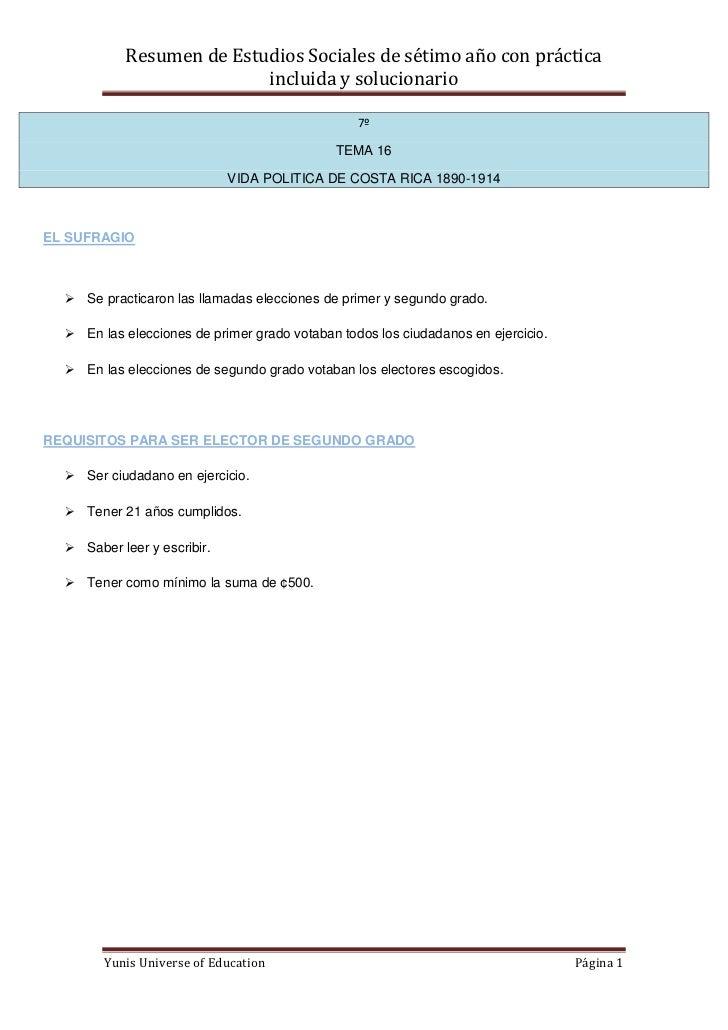 Resumen de Estudios Sociales de sétimo año con práctica                          incluida y solucionario                  ...