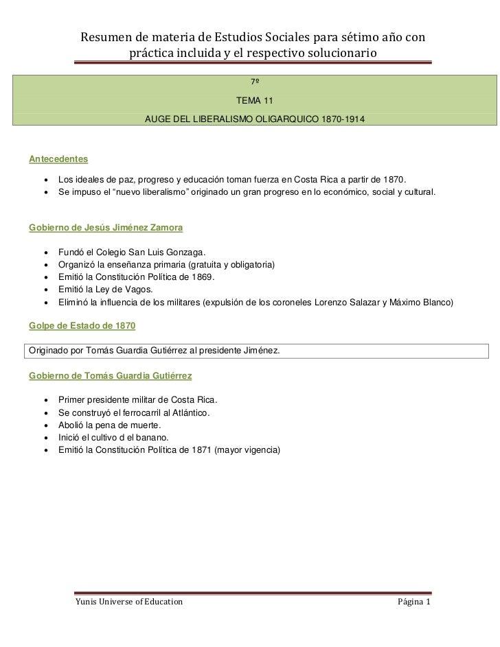 Resumen de materia de Estudios Sociales para sétimo año con                   práctica incluida y el respectivo solucionar...