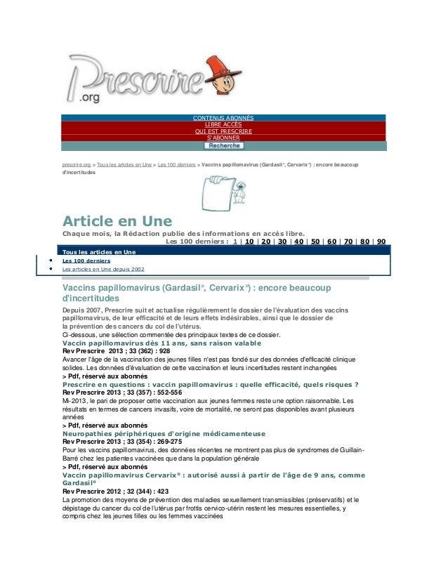 CONTENUS ABONNÉS LIBRE ACCÈS QUI EST PRESCRIRE S'ABONNER prescrire.org > Tous les articles en Une > Les 100 derniers > Vac...