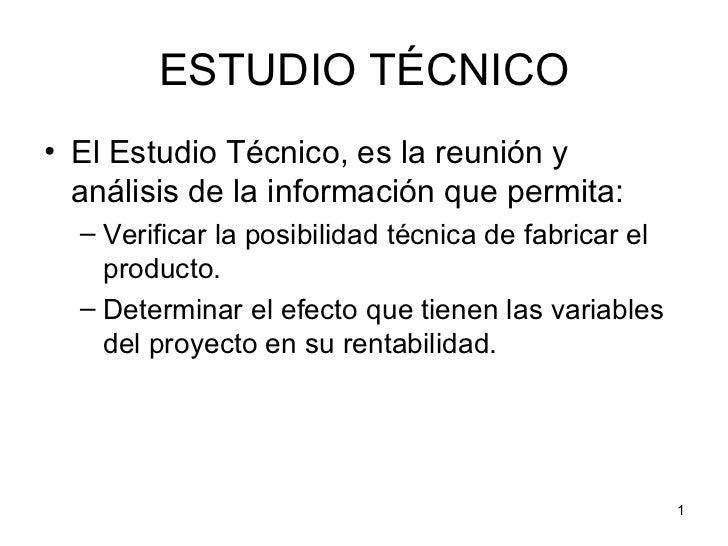 Estudio t cnico for Proyecto tecnico ejemplos