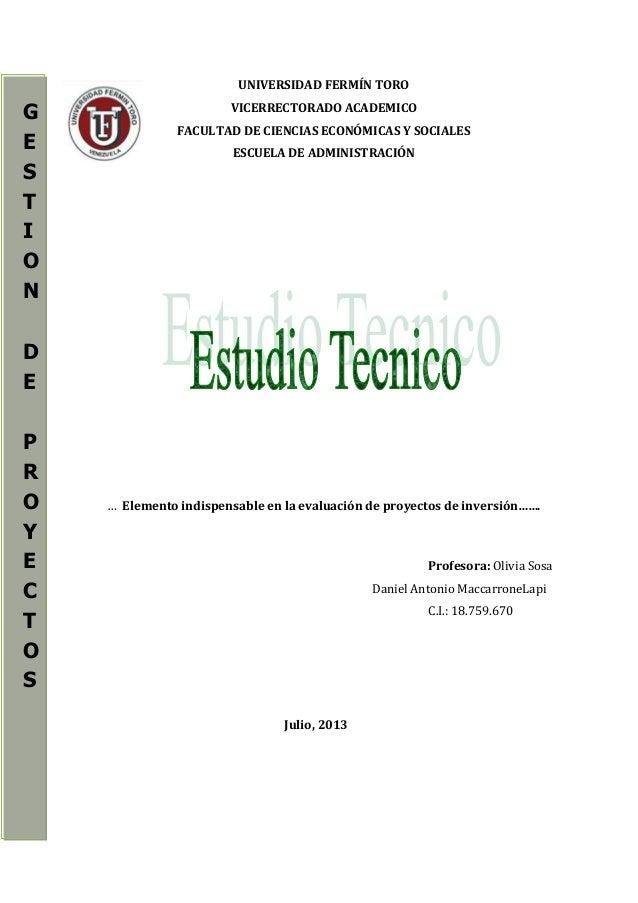 UNIVERSIDAD FERMÍN TORO VICERRECTORADO ACADEMICO FACULTAD DE CIENCIAS ECONÓMICAS Y SOCIALES ESCUELA DE ADMINISTRACIÓN … El...