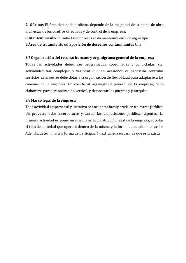 7. Oficinas El área destinada a oficina depende de la magnitud de la mano de obra indirectay de los cuadros directivos y d...