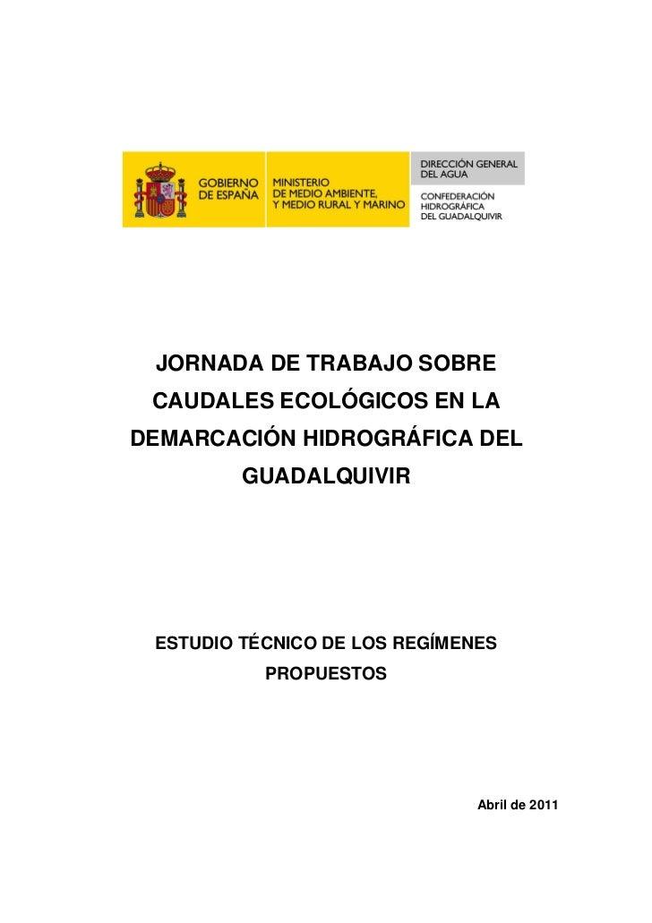 JORNADA DE TRABAJO SOBRE CAUDALES ECOLÓGICOS EN LADEMARCACIÓN HIDROGRÁFICA DEL         GUADALQUIVIR ESTUDIO TÉCNICO DE LOS...