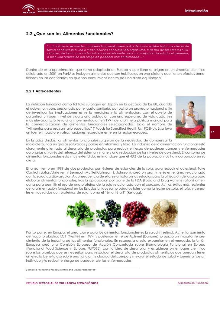 19     ESTUDIO SECTORIAL DE VIGILANCIA TECNOLÓGICA   Alimentación Funcional