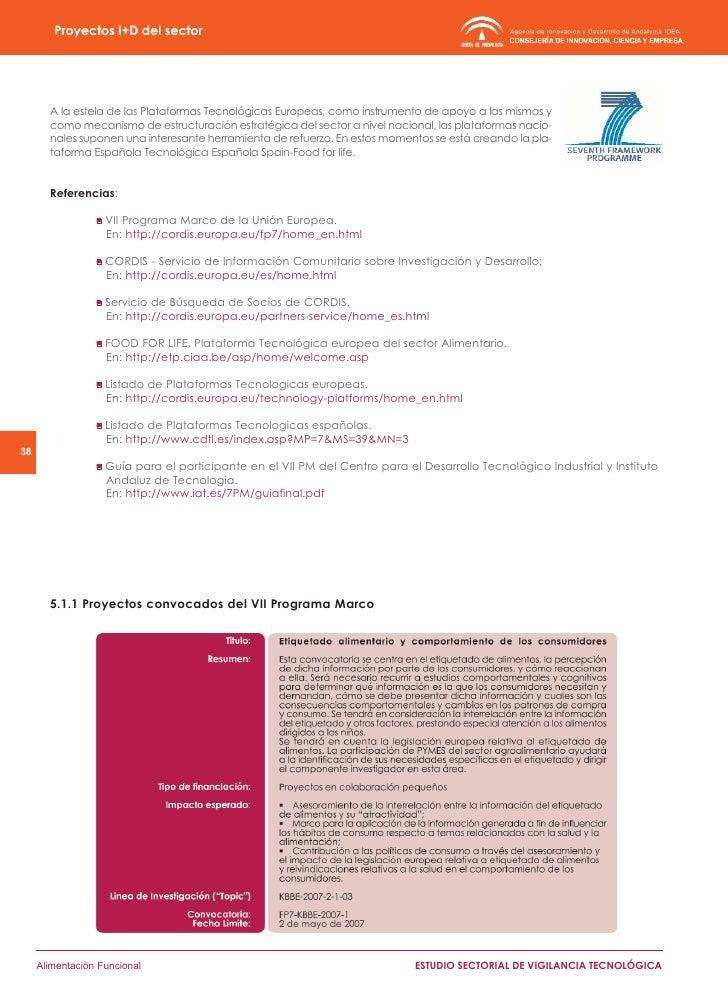 5.1.2 Historial de proyectos comunitarios de I+D del Sector         En el siguiente listado se presentan los proyectos com...