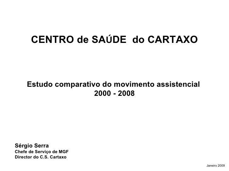CENTRO de SA Ú DE  do CARTAXO Estudo comparativo do movimento assistencial  2000 - 2008 Sérgio Serra  Chefe de Serviço de ...