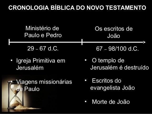 CRONOLOGIA BÍBLICA DO NOVO TESTAMENTO Ministério de Paulo e Pedro 29 – 67 d.C.  Os escritos de João 67 – 98/100 d.C.  • Ig...