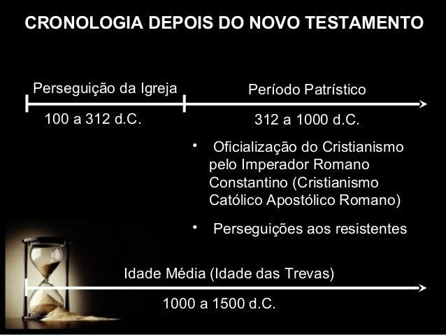 CRONOLOGIA DEPOIS DO NOVO TESTAMENTO  Perseguição da Igreja  Período Patrístico  100 a 312 d.C.  312 a 1000 d.C. •  Oficia...