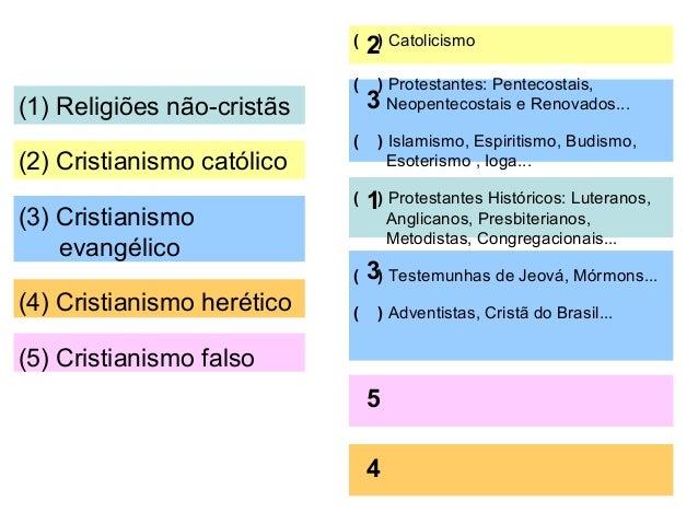 (2) Protestantes: Pentecostais, Neopentecostais e Renovados...  ( 3 ) Maomé / Buda / meditação transcedental / advinhação ...