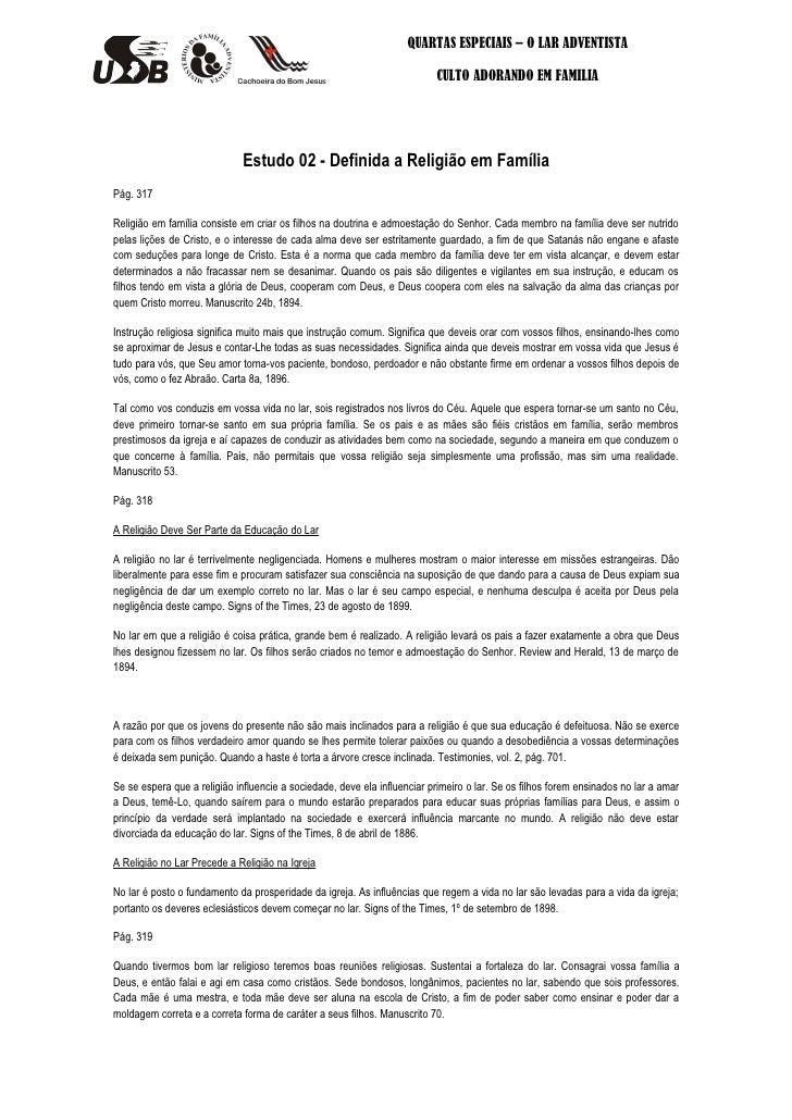 QUARTAS ESPECIAIS – O LAR ADVENTISTA                                                                          CULTO ADORAN...