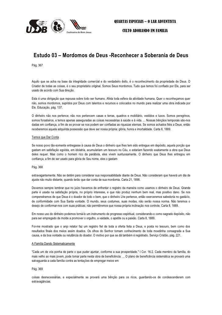 QUARTAS ESPECIAIS – O LAR ADVENTISTA                                                                       CULTO ADORANDO ...